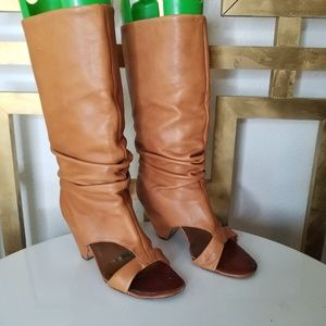 Ash Open Toe Slouchy Brown Leather Boot Spy Sexy